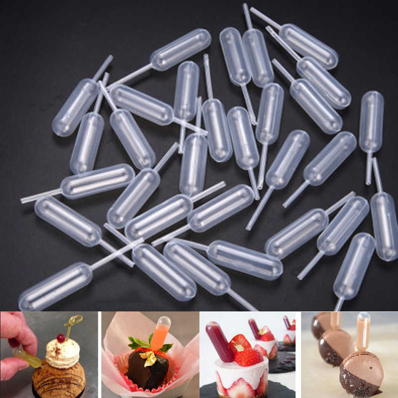 50 Pcs/pack Ice Cream Jelly Milkshake Droppers Straw Dropper For Cake Disposable Straw Injector For Cupcake Dessert Baking Tools