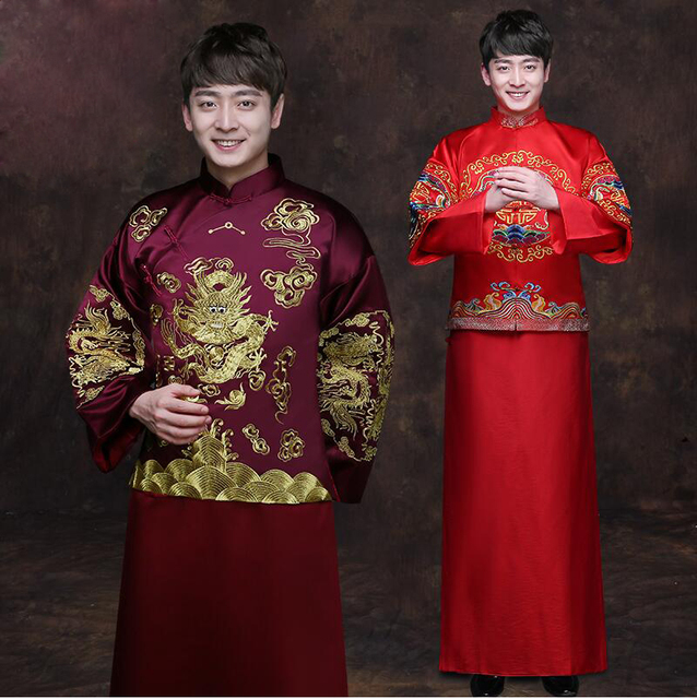 a6e8fb662 Traditional Show men's chinese style wedding costume show Chinese wedding  clothing groom red jacket tang Suit Dragon gown Robe