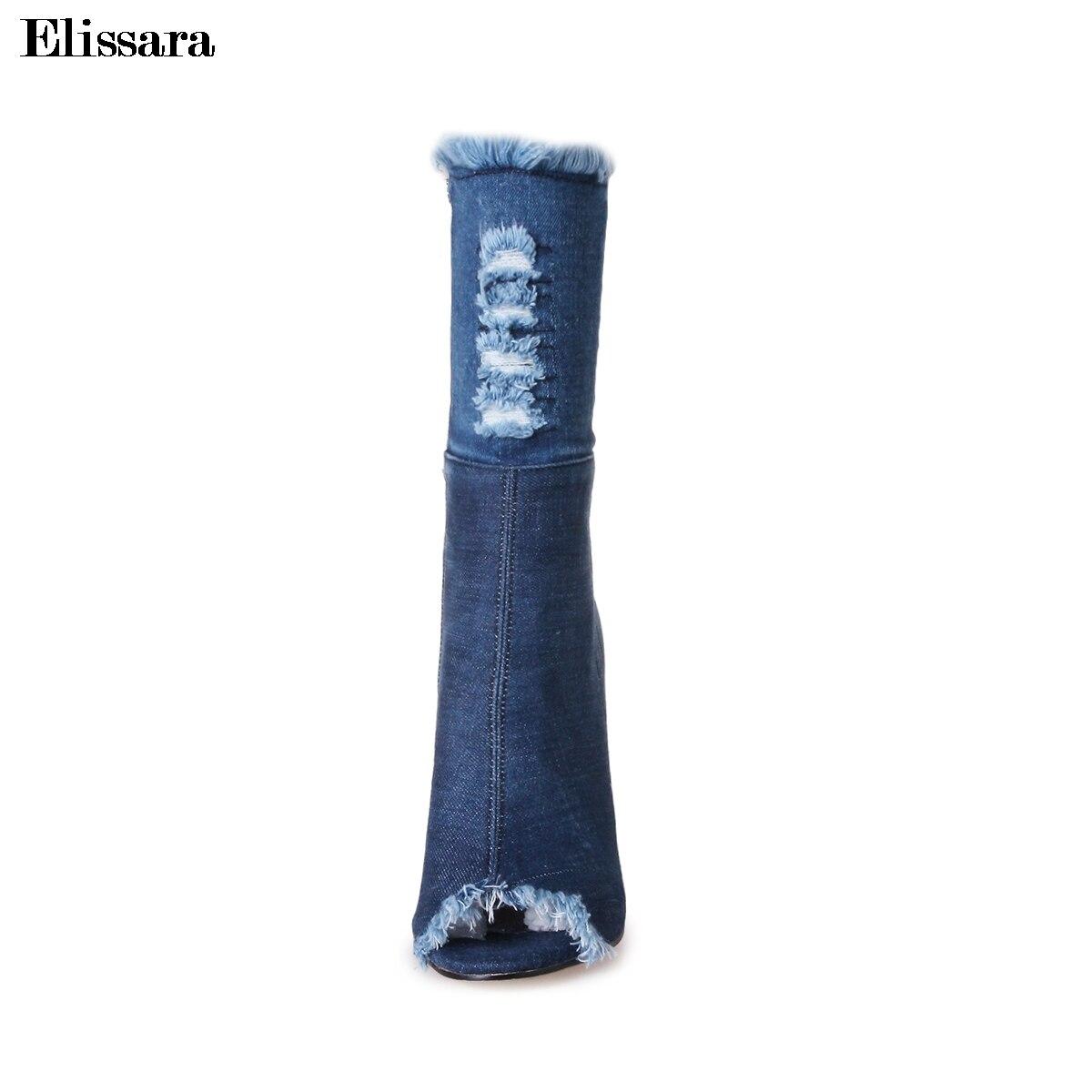 Sexy Elissara Stiefel Frauen 33 Stiefeletten Blau Herbst Schuhe Denim Heels Offene Plus Spitze Reißverschluss Größe 43 Frühling High dHArxqHwP