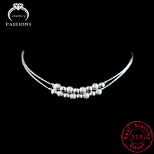 Double Layer Ball New Foot Anklet 925 Sterling Ladies Silver Anklets Bracelet Chain For Women Ball Pendant Foot Pulseras Jewelry
