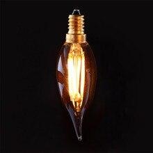 C32T колба в виде огонька Ретро светодиодная нить с регулируемой яркостью света лампы, янтарный, Стекло 4 Вт Супер Теплый 2200 K, E12 E14 База Люстра декоративный светильник для дома