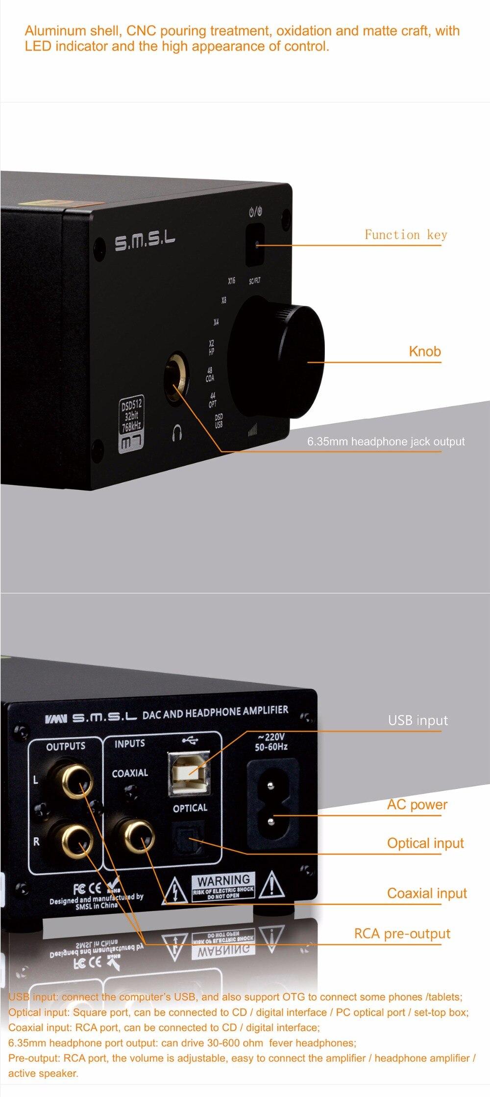 SMSL M7 2xAK4452 32Bit/768KHz DSD512 Hi-Fi Audio USB DAC with Headphone  Amplifier USB Coaxial Optical Input RCA 6 35 Jack Output