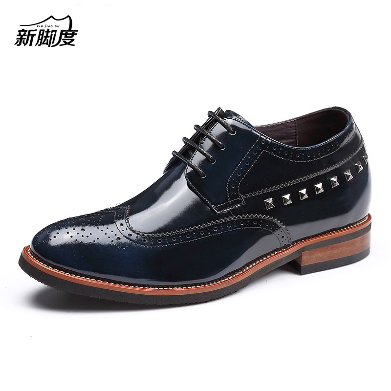 X8195 Men's Patent Leather Brogue Oxford Shoes Height Increased 2.75Inches Black/Blue/Brown
