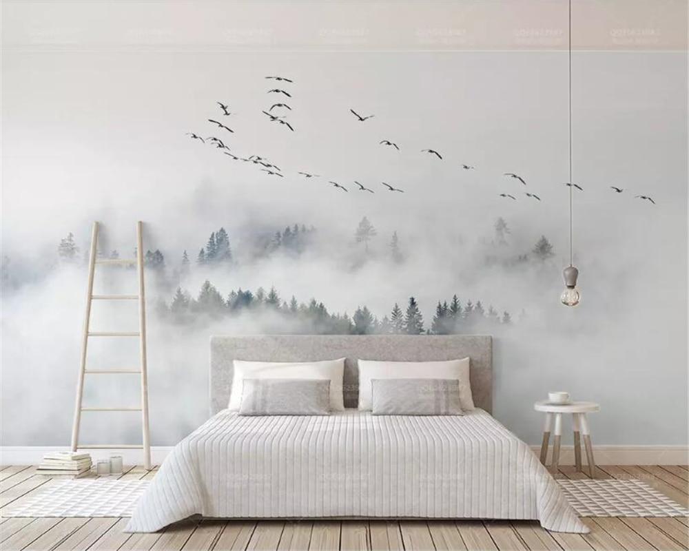 Beibehang Custom Wallpaper Photo Wall Mural Wallpaper Of Bird Pine Forest Clouds Wall Papel De Parede 3d Wallpaper Papier Peint