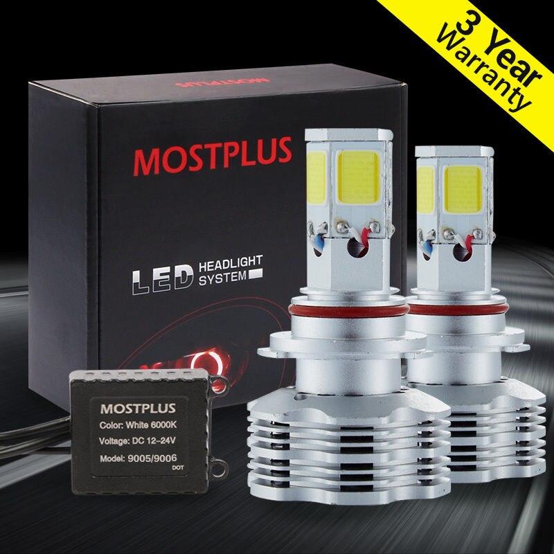 ФОТО MOSTPLUS 120W 12000LM LED headlight Kit COB 9006 HB4 9012 6000K XENON White bulbs