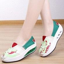 Woman Canvas Shoes Casual Platform Fashion Low-cut Fretwork Heels Women Height Increasing Ladies Popular Hot Sale
