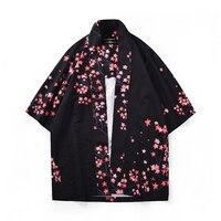 Mens Kimono Shirt Plus Size Japanese Clothing Kimono Cardigan Patterns Cherry blossoms Dragon Print Harajuku Men Clothing