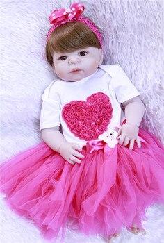 Bebe 55cm Full Body Silicone Reborn Baby girl Doll Toys Lifelike Baby-Reborn real Doll Kids Child Birthday gift boneca reborn