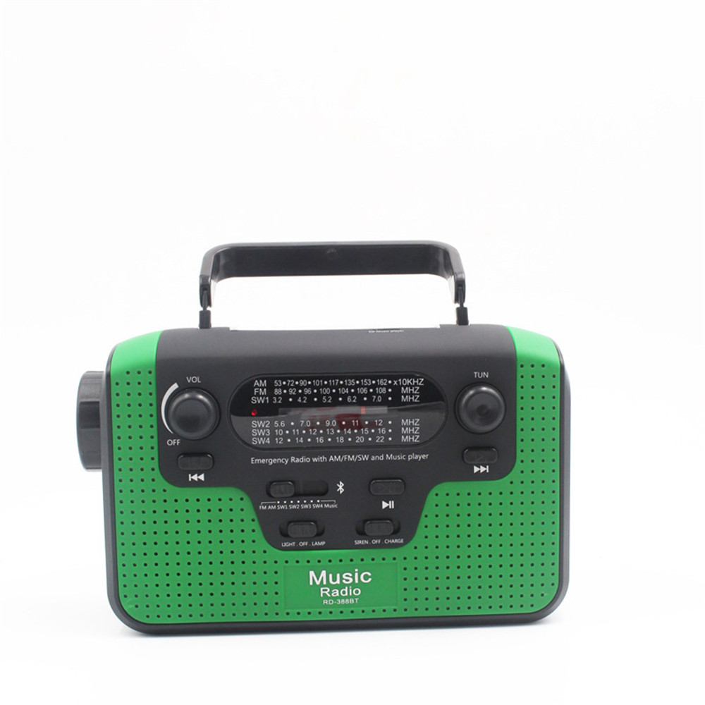 Radio hand crank power solar multi-function LED light Bluetooth card player emergency mobile phone charger icoco 3 in 1 emergency charger flashlight hand crank generator wind up solar dynamo powered fm am radio charger led flashlight