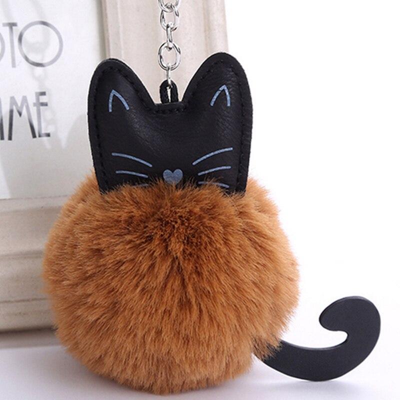 2018 New Fluffy Cat Keychain Pompon Key chain Artificial Rabbit Fur Ball Key Rings Women Bag Car Charm Pendant pom pom holder cat detail pom pom keychain