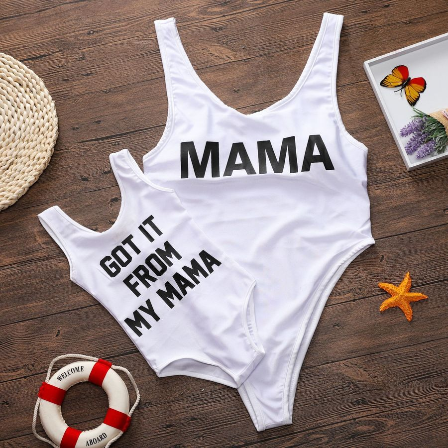 Famli Mama Baby Matching Swimwear Pc Family Casual Letter Print