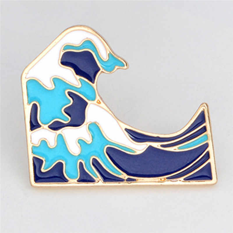 ブルー波ブローチエナメルピンバックル漫画金属ブローチコートジャケットバッグピンバッジ海の宝石類のギフト子供のためのガールボーイ