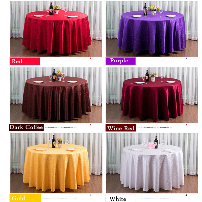 20pcs 240cm Round Embroidered Wedding Table Cloth Round Wine Red Coffee  Purple White Gold Table Runner Party Table Decoration In Tablecloths From  Home ...