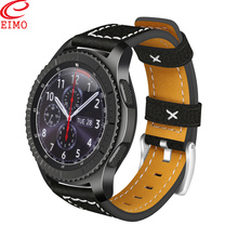Купить с кэшбэком Gear S3 Frontier band for Samsung Galaxy watch 46mm Classic amazfit band 22mm Genuine Leather bracelet Smart watch Watchband
