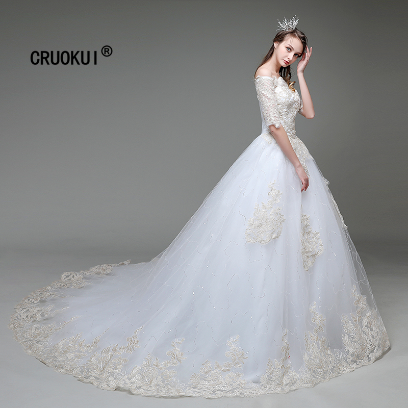 CRUOKUI Boat Neck  Wedding Dresses With Lace Appliques Champagne Church Trailing Sleeves Bridal Dress With Vestidos De Formatura