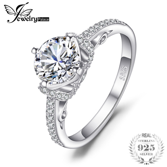 JewelryPalace Bridal Round Shape Cubic Zirconia Solitaire Wedding Ring 925 Sterl