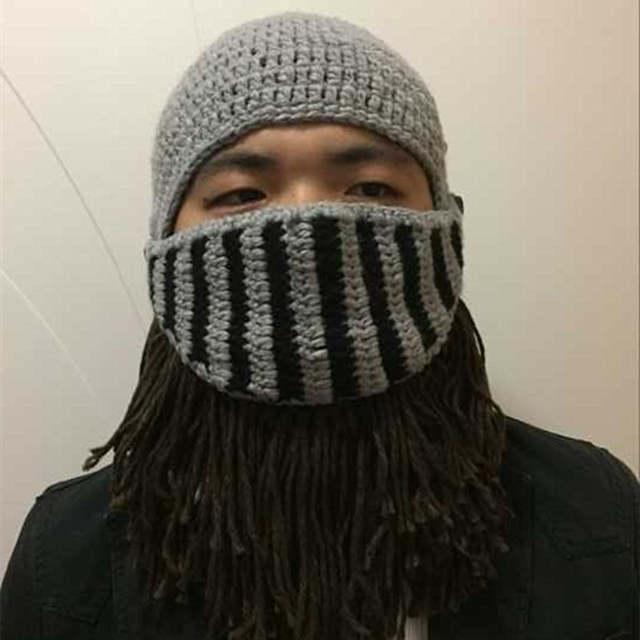 BomHCS Red Tassel Cosplay Roman Knight Knit Helmet Men s Caps Original  Barbarian Handmade Winter Warm Beard 4c00873e9