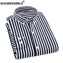 SHOWERSMILEL Man Shirt Black And White Striped Long Sleeves Mens Casual Shirts Spring Autumn Male Tops Plus Size