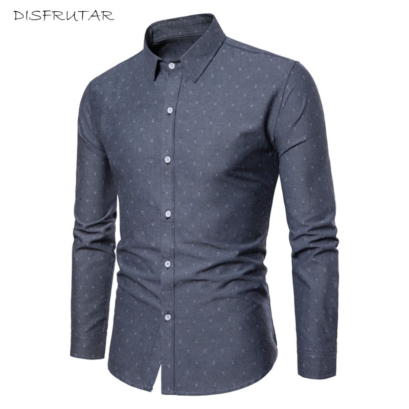 Long Sleeve Slim Men Dress Shirt 2018 Brand New Fashion Designer High Quality Solid Male Clothing Fit Business Shirts