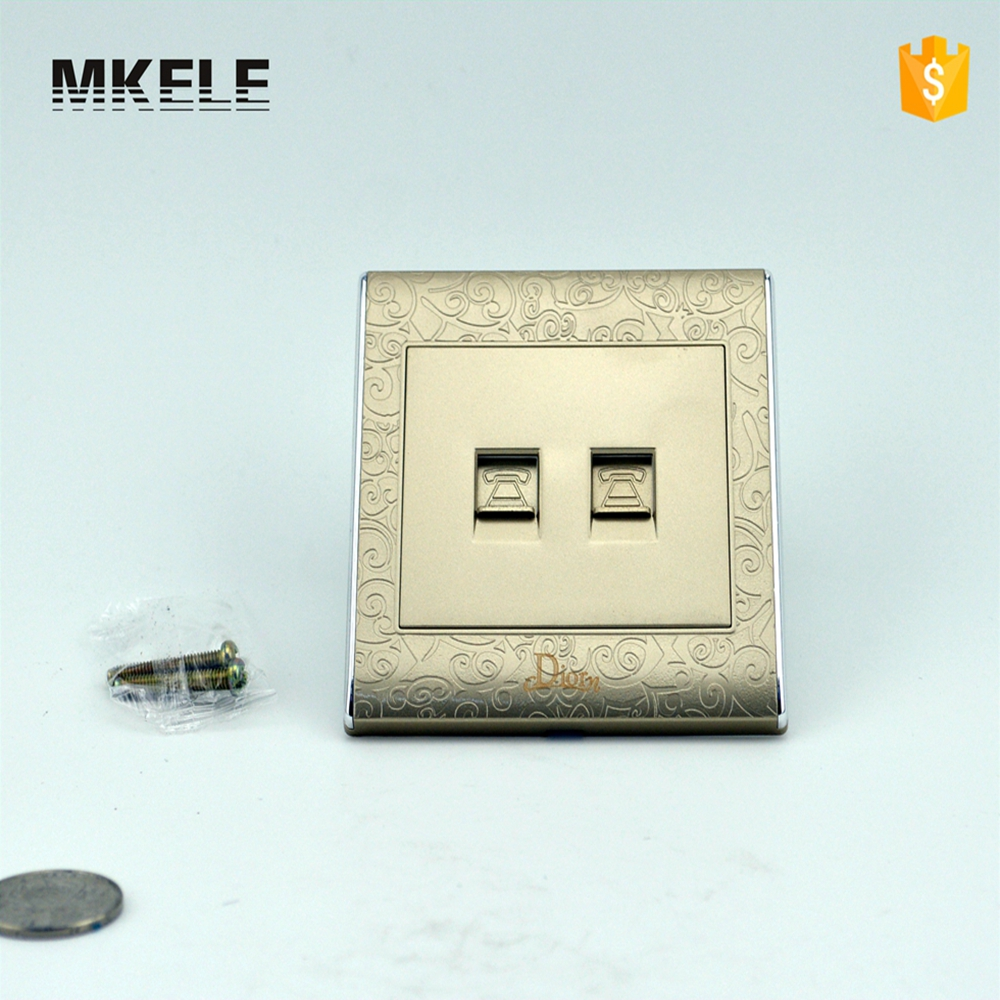 Wall Switch MK-WS05024 TEL  And Socket Electric Luxury Light Conceal Outlet Switches Electrical scinder switched socket package 15 steel frame two or three five hole electrical outlet wall switch panel switch