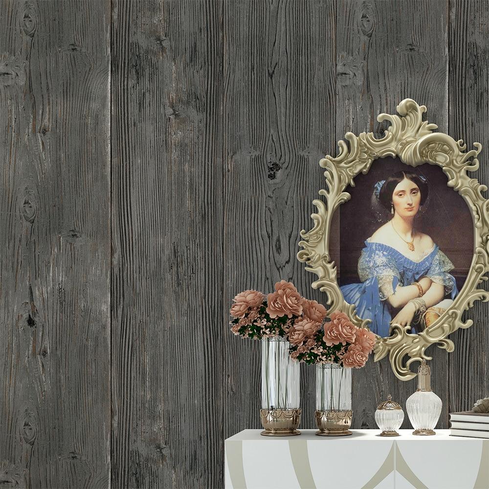 HaokHome Vintage Faux Wood Panel Wallpaper Rolls Dk Gray 3D Realistic Paper Murals Home Bedroom Living room Wall Decoration