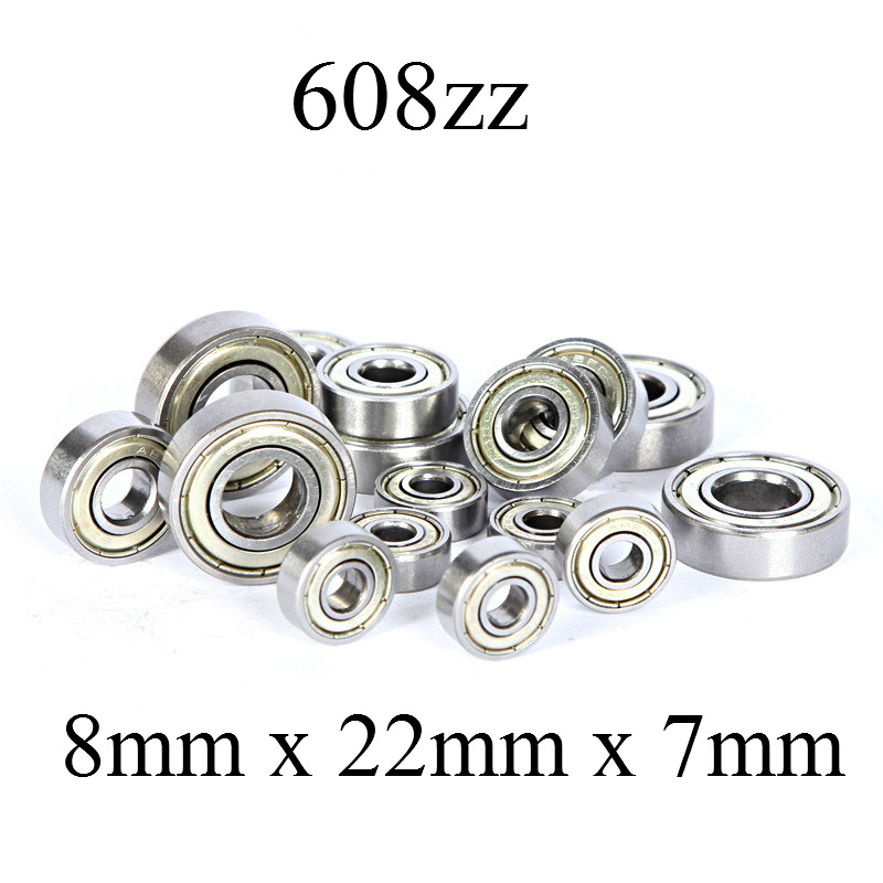 3pcs Double Shielded Miniature High-carbon Steel Single Row 608ZZ Deep Groove Ball Bearing 8*22*7 8x22x7mm 608 ZZ