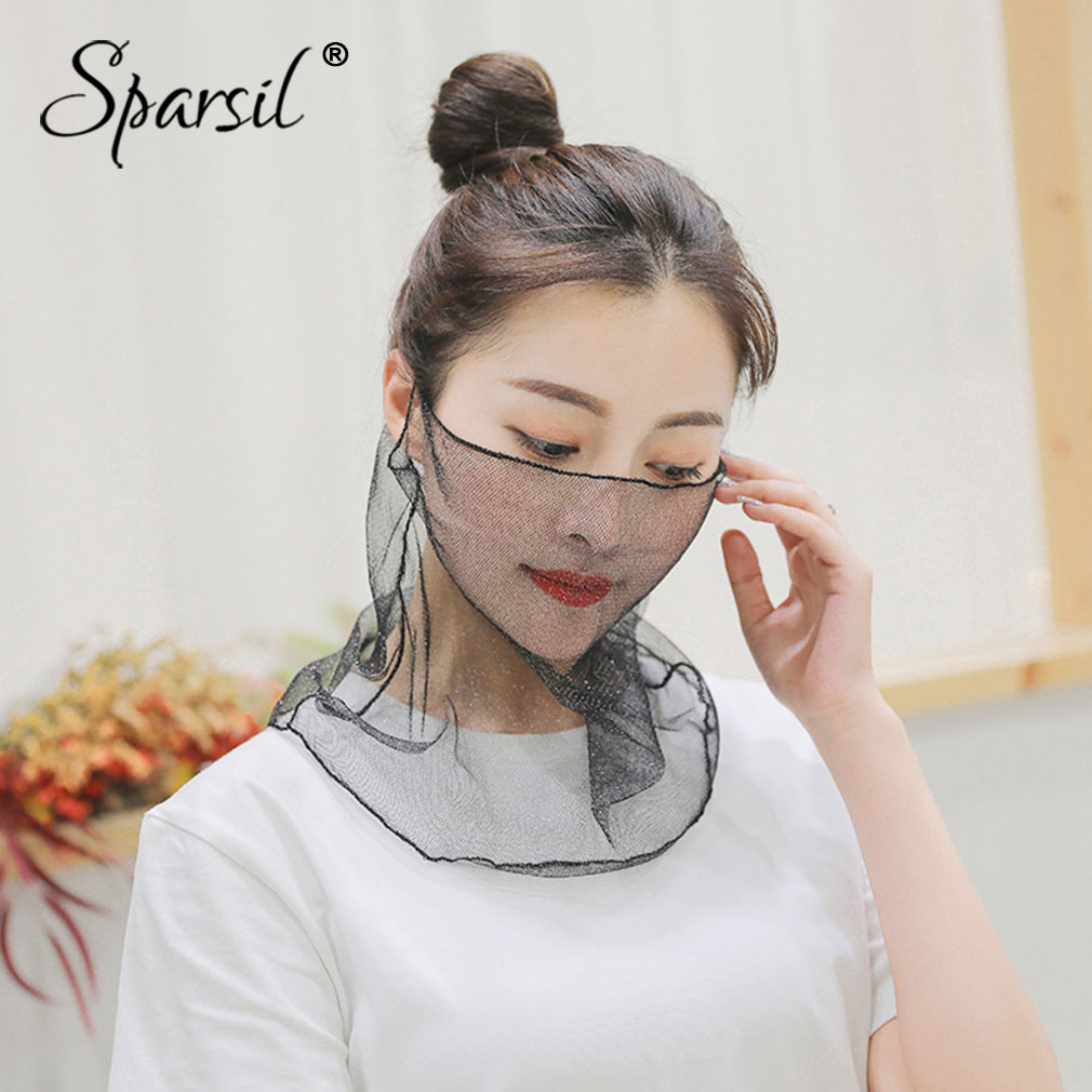 Sparsil Women Summer Sun Protection Mouth Face Mask Breathable Lace Dust-Proof Foldable Ring Scarf 2 Wear Anti-Uv Cover Face