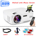 AUN Projector AM01 Series ( Optional Classic / DVB-T/ ATSC / Android ), LED Projector LED TV Tuner Free HDMI Cable 3D Glasses