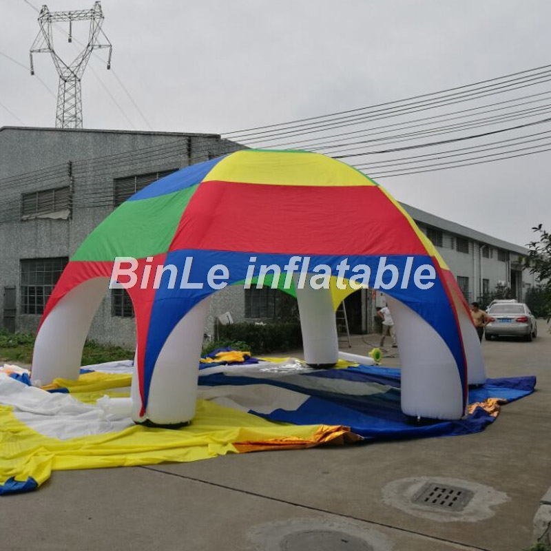 Купить с кэшбэком Big sale!high quality polyester waterproof rainbow inflatable tent spider dome tent for beach events