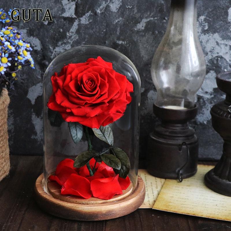 Новинка, красивая и чудовищная Роза в стеклянном куполе, светодиодный светильник, украшение для дома на День святого Валентина, рождественские подарки - Цвет: Red