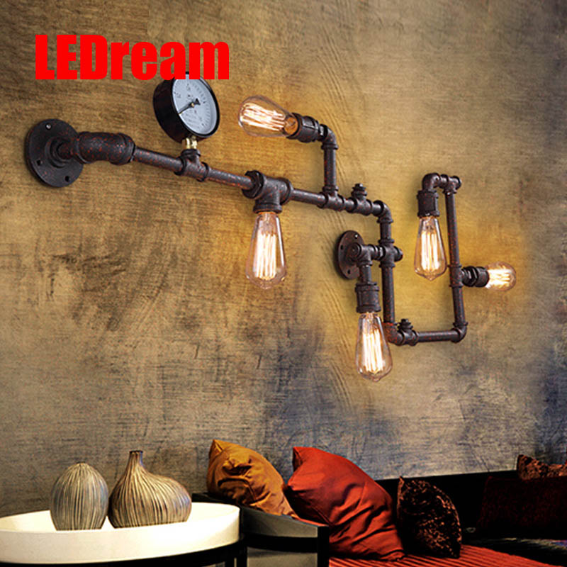 90-260V e27 eison bulb Industrial wind retro pipe gauge wall lamp loft corridor light bar coffee shop decoration wall lights цена