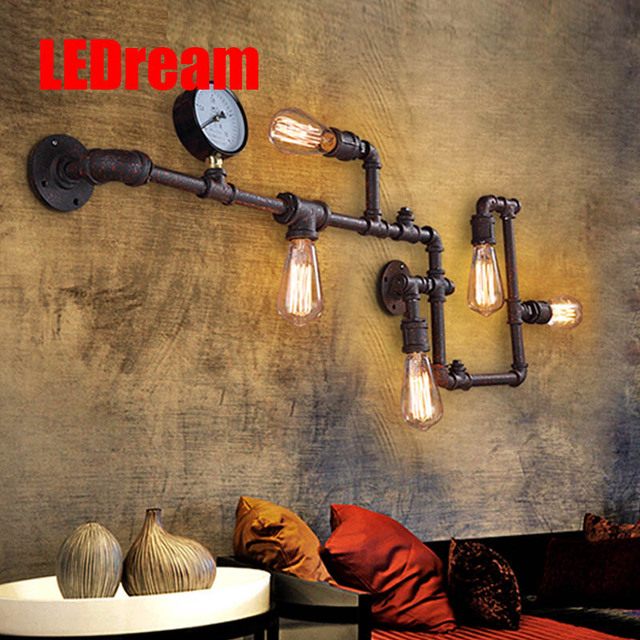 90-260V e27 eison bulb Industrial wind retro  pipe gauge wall lamp loft corridor light bar coffee shop decoration wall lights