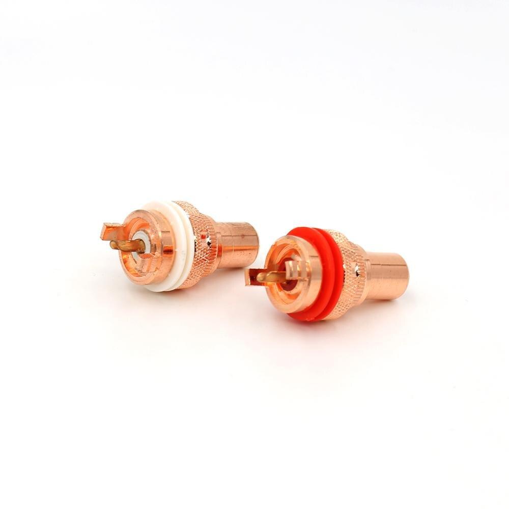 Hi End red copper Non Solder RCA Socket Connector for CD player amplifier