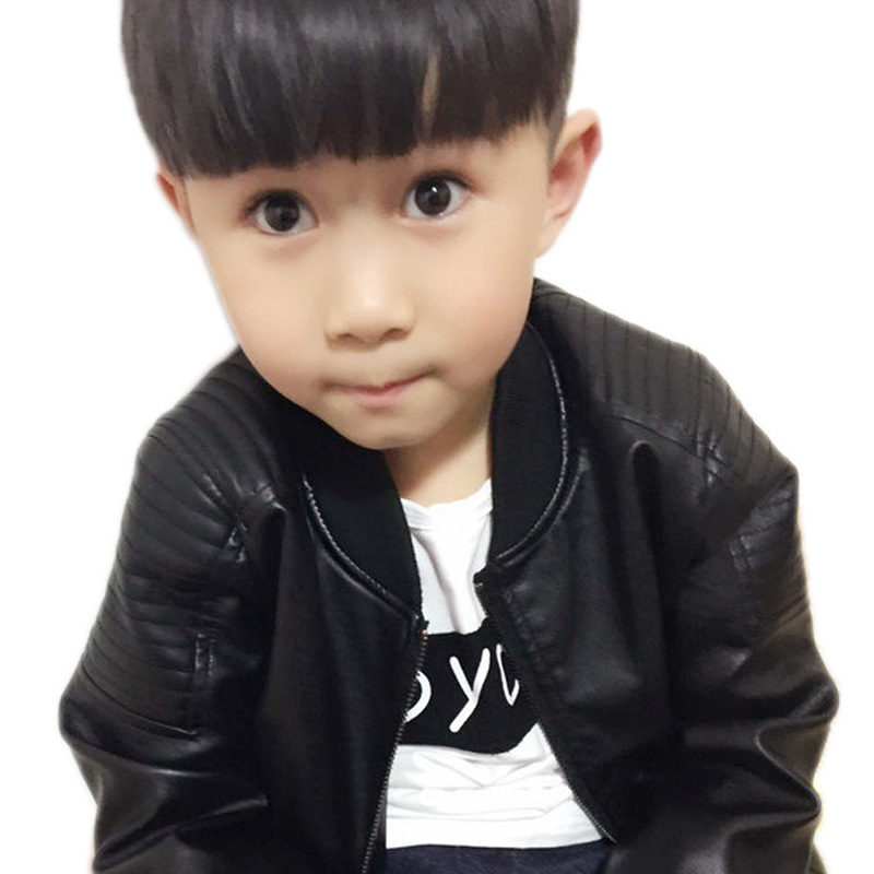 Toddler Leather Jacket 2018 Children's For Boys Pu Leather Jacket Motorcycle PU Leather Jacket Lapel Cool Outerwear Coats 2-11T fleece graphic embroidered pu leather jacket