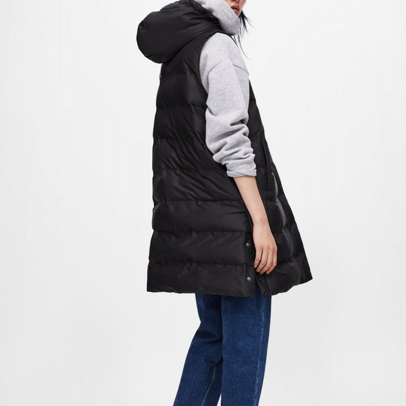 Black Le New Bas Capuchon Veste Plus À Gilet Vers Femelle Solide Chaud Sans Épais Manche De Long Hiver Femmes La Xl Mince Taille Survêtement Manteau Mode 2019 FHwdqRq