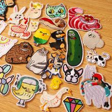Prajna Anime Patches DIY Hook Loop Patch On Clothes Cute Animal Iron on For Clothing Embroidered Cartoon