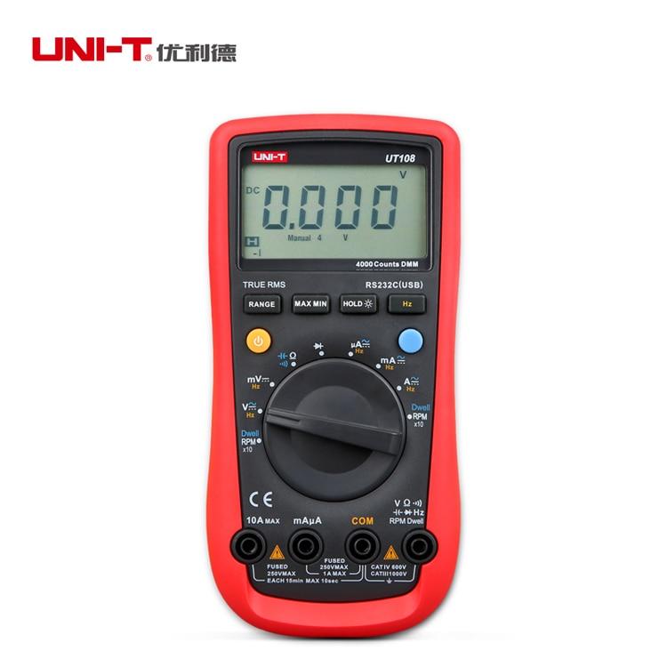UNI-T UT108 3 3/4 Handheld Automotive Multipurpose Meters Auto Range Multimeter USB PC Connect AC DC V/A Ohm цена