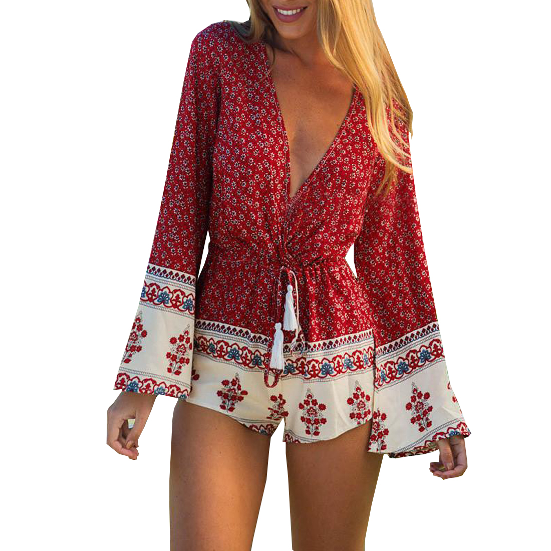 2017 Boho Red Floral Print Fringe Playsuits Women Elegant Summer V Neck   Jumpsuits   Rompers Sexy Beach Girls Short Overalls
