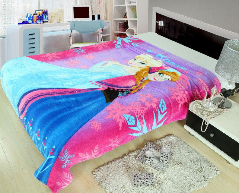 Frozen Anna and Elsa Printed Blankets Throws Bedding 150*200CM Girls Childrens Bed Home Bedroom Decoration Flannel Blue Rosy