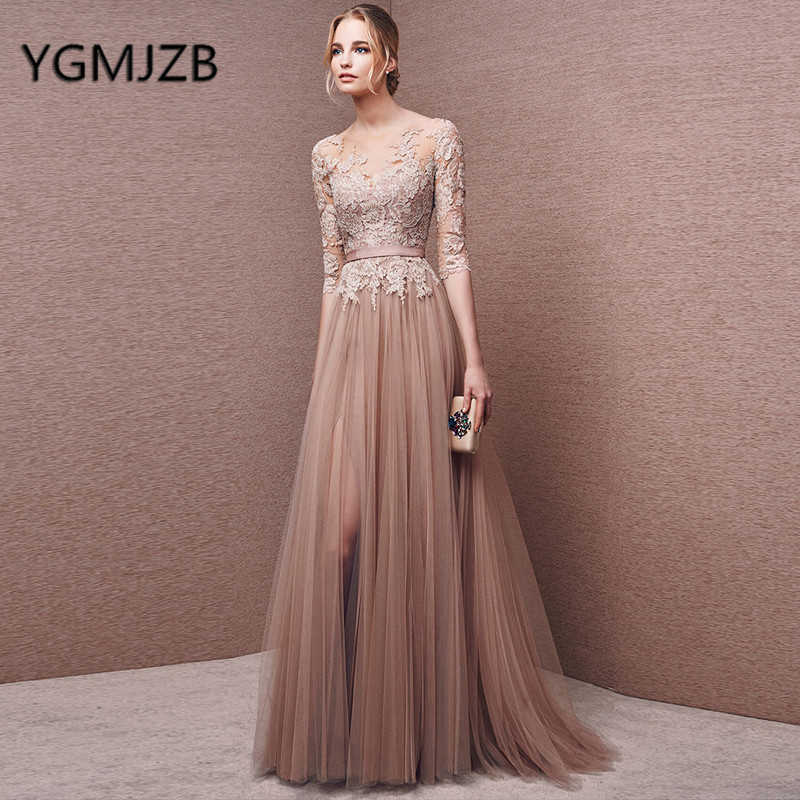 Gala Jurken 2019 Long   Prom     Dresses   A-line 3/4 Sleeves Appliques Lace Tulle Saudi Arabic Women Formal Evening Gown Party   Dress