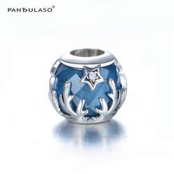 Pandulaso кристаллическая звезда талисманы зима DIY ювелирные изделия синий CZ бусины для изготовления ювелирных изделий Fit оригинальный