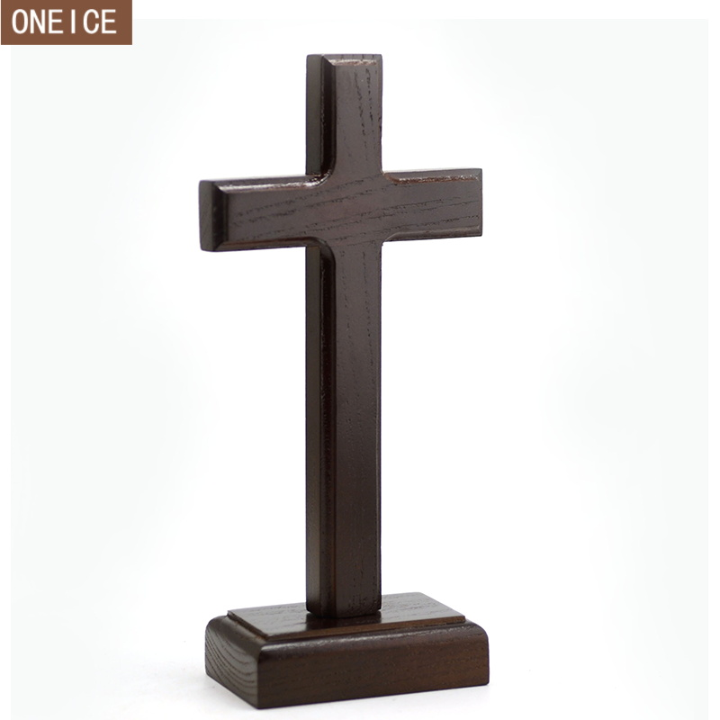 <font><b>Church</b></font> relics cross Solid wood Jesus Christ decorative ornaments Dual-use detachable wall hanging 23cm cross image