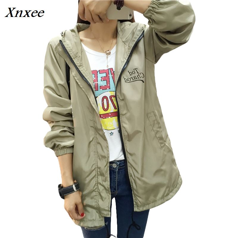Jacket   Women 2018 Women   Basic     Jacket   New Fashion Hooded Thin Outwear Windbreaker Plus Size S-2XL Female Coat Xnxee