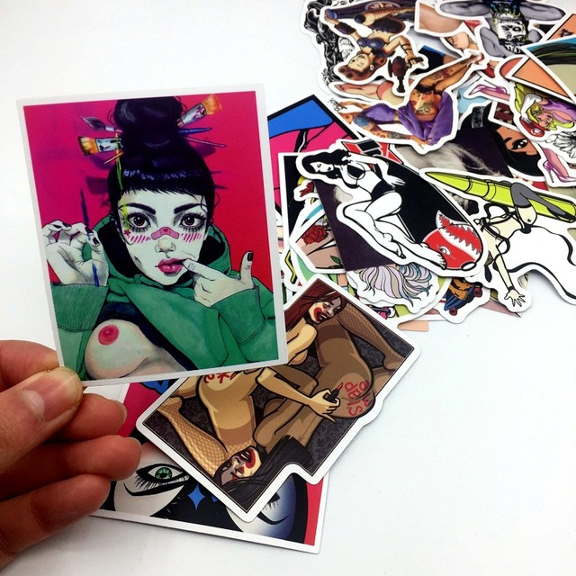 Mixed 50pcs Styling Sexy Beauty Girls Stickers For Laptop
