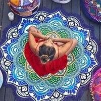 Nuove Donne Chic Nappa Indiano Mandala Arazzo di Loto Della Boemia Stampato Asciugamano Tappetino Yoga Sunblock Rotonda Bikini Cover-Up coperta