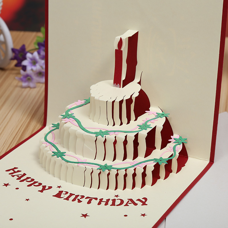Factory Direct Color Cake 3D Stereo Creative Birthday Cards DIY Handmade Hollow Holiday Greeting Card In Invitations From Home Garden On