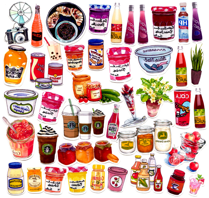 42pcs self made drink food jam scrapbooking stickers for Scrapbooking cuisine