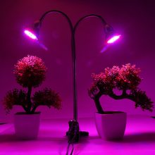 Dual Head LED Grow Light 400 LED Indoor Desk Plant Flower Grow Light Lamp with Clip 12W/18W Hydroponic Lighting 85-265V US Plug(China)