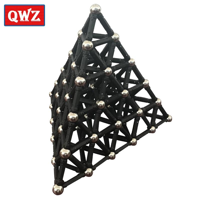 QWZ Black White Magnet Bars & Metal Balls Magnetic Construction Creative Toys DIY Designer Educational Toy For Children Gifts