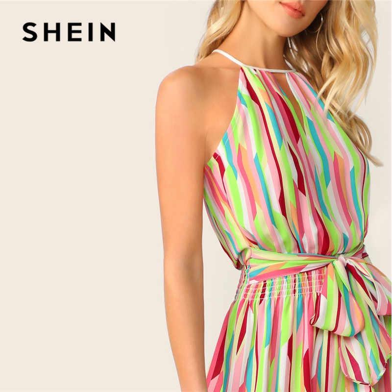 SHEIN Контрастное Платье С Поясом И Графическим Принтом  Женское Летнее Многоцветное Богемное Платье